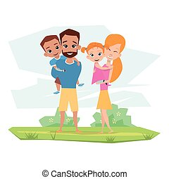 embrasser, incapacités, famille heureuse, enfants