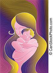 embrasser, mère, enfant