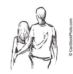 embrasser, main, dessiné, amants, croquis, amour, hearts.