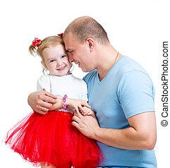 embrasser, père, isolé, enfant, girl, blanc, heureux