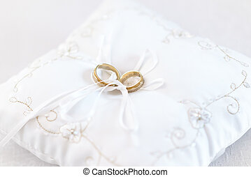 embroided, δακτυλίδι , δυο , cushion., γάμοs , άσπρο