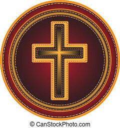 Embroidered button Religious cross. Vector