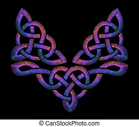 Embroidered Celtic patterns. traditional ornament.