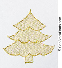 Christmas tree machine embroidered with gold thread on white fabric.