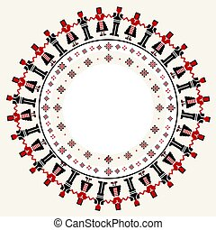 Embroidered cross-stitch round frame with dancers .eps