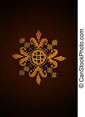 embroidered cross yellow flower on a brown background