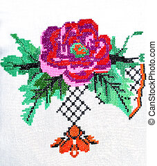 embroidered flower rose