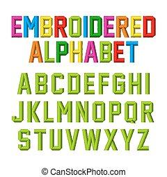 Embroidered font, alphabet