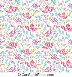 Embroidered garden seamless pattern background