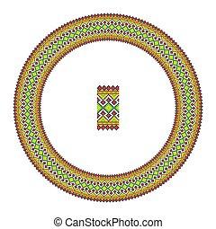 Embroidered good like handmade cross-stitch ethnic Ukraine pattern. Round ornament in ethnic style.