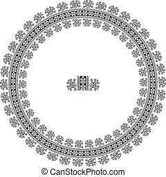 Embroidered good like handmade cross-stitch ethnic Ukraine pattern. Round ornament in ethnic style. Fashion background with ornate dish
