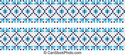 Embroidered good like handmade cross-stitch ethnic Ukraine pattern. Towel with ornament, called rushnyk in vector