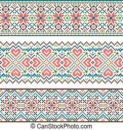 Embroidered handmade stitch Ukraine ethnic pattern. Ornament...