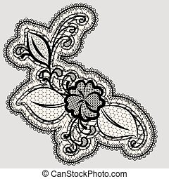 Embroidered lace flower. Detail of the wedding decor.