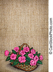 embroidered pink roses