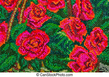 embroidered  red roses