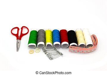 Embroidery accessories - many color Sewing thread - Scissors and Waist circumference