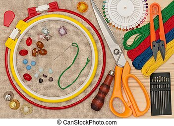 Embroidery accessories - Various embroidery accessories with...
