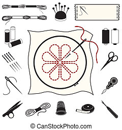 Collection of 20 tools, supplies for embroidery, needlework, applique, bargello, brocade, crewel, cross-stitch, needlepoint, stitchery, tapestry.
