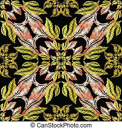 Embroidery baroque vector seamless pattern.