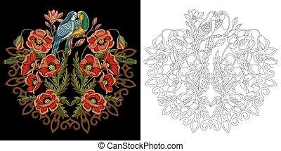 Embroidery birds design