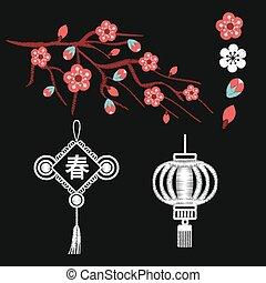 Embroidery blossoms, branch of cherry sakura tree
