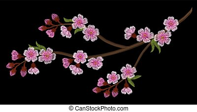 Embroidery branch of cherry blossoms on a black background