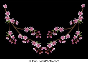 Embroidery branch of pink cherry blossoms on a black background