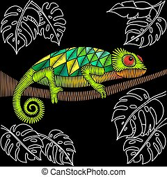 Embroidery design with chameleon lizard. Natural artwork for clothing, patches and stickers. Decorative fancywork elements and fabric textile print.