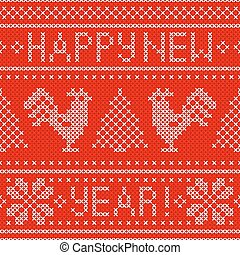 Embroidery Christmas card with cross stitch embroidered roosters.