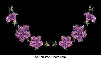 Embroidery crewel floral petunia neckline decoration. Vector illustration. Purple violet color flower necklace ornament vintage design