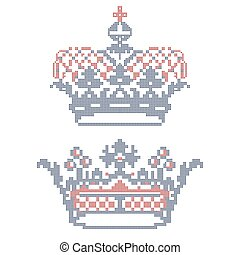 embroidery., croce-punto, crowns.