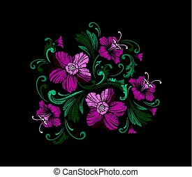 Embroidery Design in Baroque Style. Vector - Embroidery...