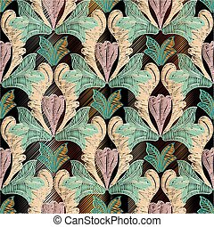 Embroidery floral Baroque damask seamless pattern.