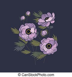 Embroidery floral design with lilac anemones