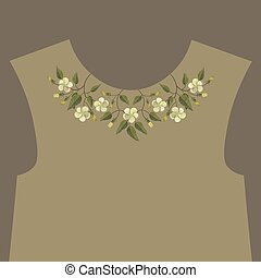 Embroidery floral neckline design
