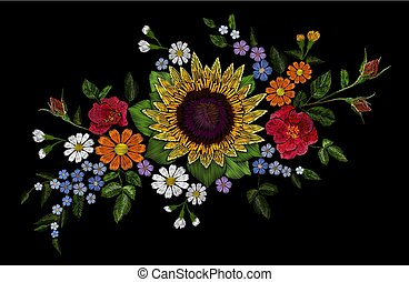 Embroidery flower bouquet sunflower dog rose briar daisy ...