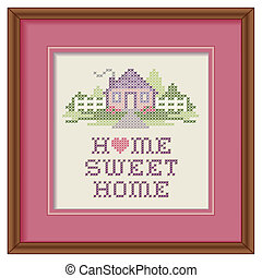 Mahogany wood picture frame with cross stitch embroidery design, Home Sweet Home with a big heart in pastel colors, needlework house, picket fence in landscape graphic, isolated on white background.