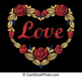 Embroidery heart of roses leaf red bright word love