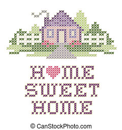 Cross stitch embroidery design, Home Sweet Home in pastel colors, needlework heart, house, picket fence in landscape graphic, isolated on white background.