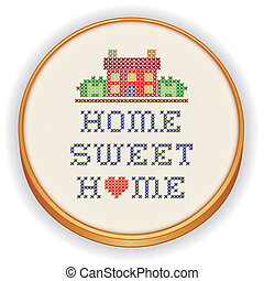 Embroidery, Home Sweet Home - Retro wood embroidery hoop...