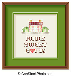 Embroidery, Home Sweet Home Frame - Mahogany wood picture ...