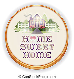 Retro wood embroidery hoop with cross stitch sewing design, Home Sweet Home in pastel colors, needlework heart, house, picket fence in landscape graphic, isolated on white background.