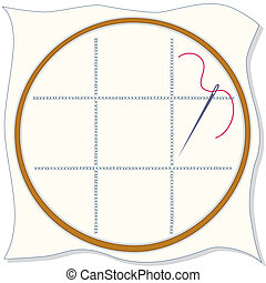 Copy space to add your art and designs. Embroidery hoop, cloth, cross stitch design, sewing needle and thread.