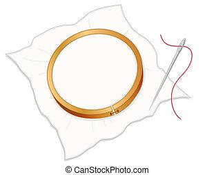 Embroidery Hoop, Needle, Thread - Wood embroidery hoop, ...