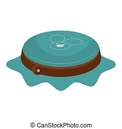embroidery brown hoop with blue canvas vector illustration