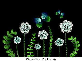 Embroidery imitation floral pattern border design.Vector...