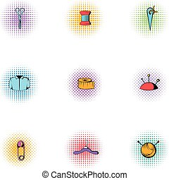 Embroidery kit icons set, pop-art style