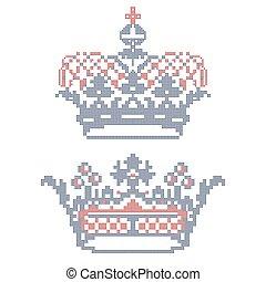 embroidery., kreuzstich, crowns.
