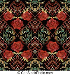 Embroidery roses seamless pattern. Baroque background.